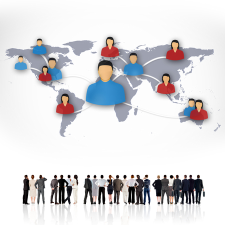 businessman carrying a globe: Rear view of multiethnic business people standing side by side against view of communication network