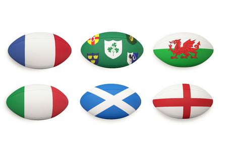 pelota: Seis naciones rugby pelotas con las banderas de las naciones en ellos Foto de archivo