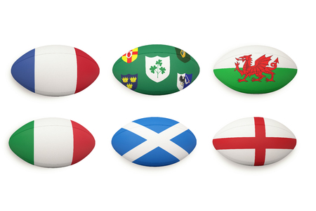 world flag: Six nations rugby balls with nations flags on them
