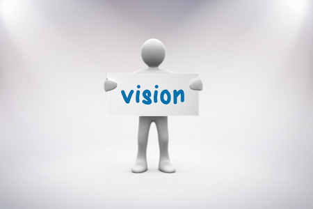 human representation: The word vision and human representation holding blank placard against grey background Stock Photo