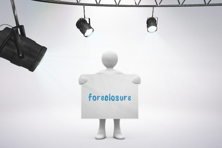 foreclosure: The word foreclosure and spotlights against grey background
