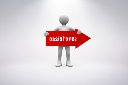 human representation: The word assistance and human representation holding red arrow sign against grey background Stock Photo