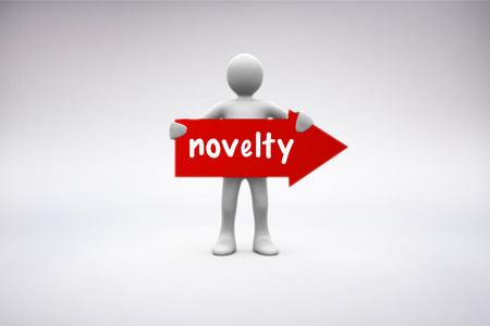 The word novelty and human representation holding red arrow sign against grey background