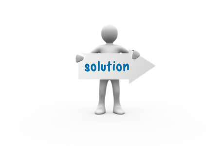representation: The word solution and human representation holding arrow sign against white background with vignette Stock Photo