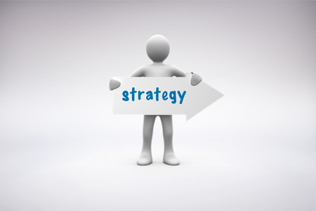 human representation: The word strategy  and human representation holding arrow sign against grey background Stock Photo