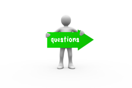 human representation: The word questions and human representation holding green arrow sign against white background with vignette Stock Photo