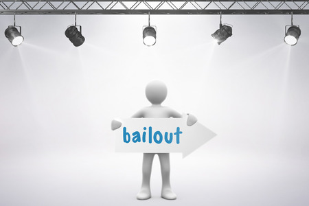 bailout: The word bailout and spotlights against grey background