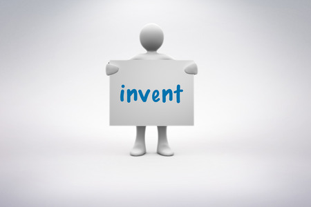 invent: The word invent and human representation holding blank billboard against grey background