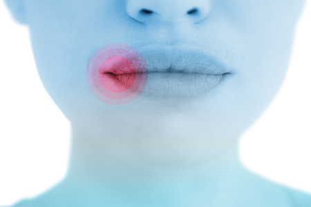 luscious: Woman with luscious lips against highlighted pain Stock Photo