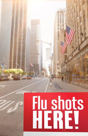 flu shots: flu shots here against new york street