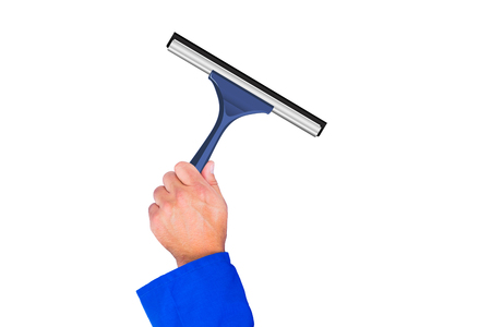 boiler suit: A Hand using a wiper against white background Stock Photo