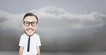 geeky: Geeky businessman  against clouds in a room
