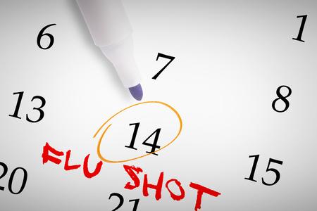 flu shots: Blue marker against flu shots