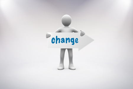 human representation: The word change and human representation holding arrow sign against grey background Stock Photo