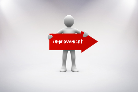 human representation: The word improvement and human representation holding red arrow sign against grey background Stock Photo