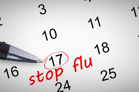 western script: Pen  against stop flu