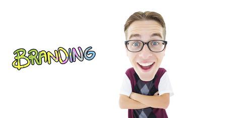 geeky: Geeky businessman  against branding