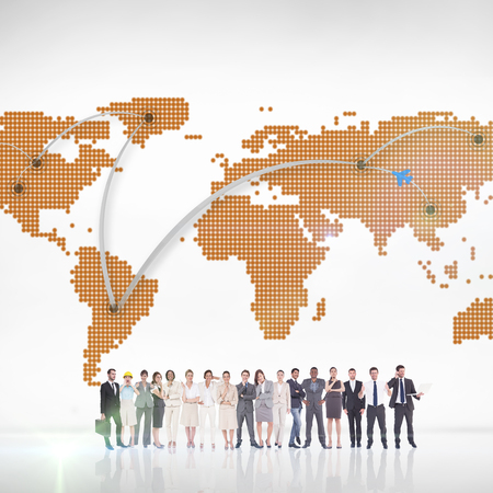 Multiethnic business people standing side by side against world map with lines Stok Fotoğraf