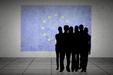 incidental people: Silhouette of team of people against eu flag