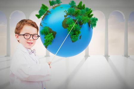 bata de laboratorio: Alumno linda en bata de laboratorio contra la tierra flotando en la habitaci�n