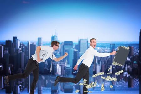 running businessman: Running businessman against mirror image of city skyline Stock Photo