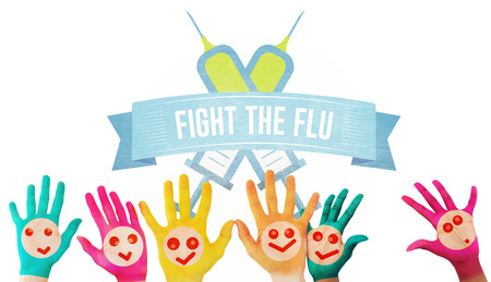 Hands with colourful smiley faces against flu shot message Stock Photo