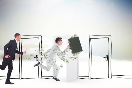 running businessman: Running businessman against doodle doors in clouds