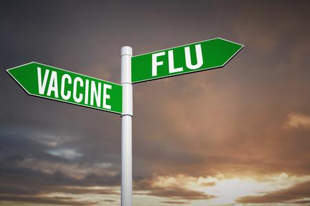 flu vaccine: flu vaccine against cloudy sky