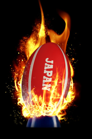 world sport event: Japan rugby ball against smoke