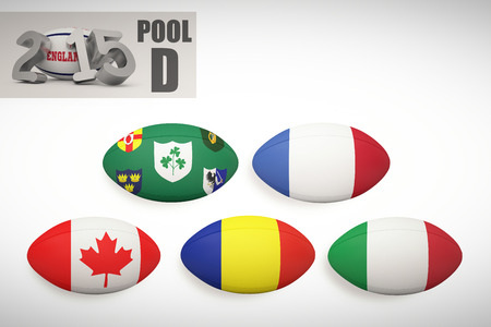 world cup: England rugby 2015 message  against rugby world cup pool d Stock Photo