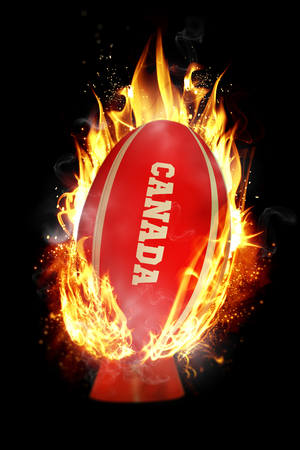 world sport event: Canada rugby ball against smoke