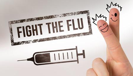 medical fight: Finger characters against flu shot message