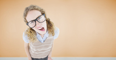 unclear: Confused geeky hipster woman  against room with wooden floor