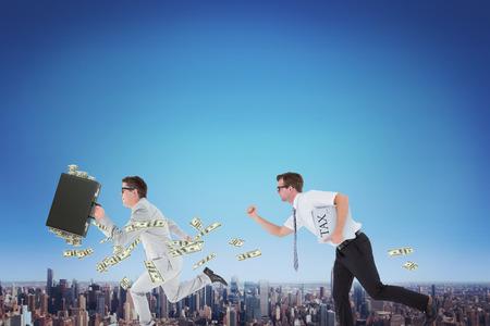 running businessman: Running businessman against cityscape Stock Photo