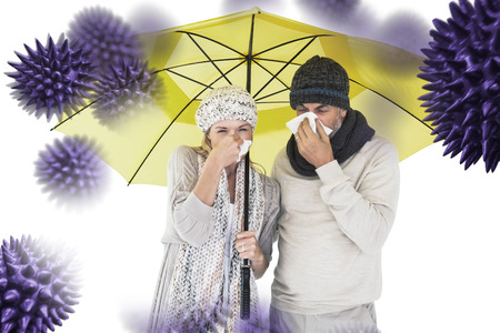 realtionship: Couple sneezing in tissue while standing under umbrella against virus Stock Photo