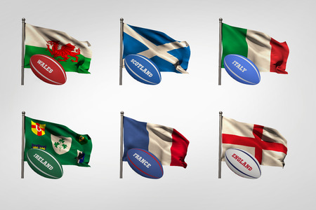 nations: Six nations flags with names rugby balls beside them