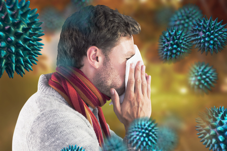bloodstream: Man blowing nose on tissue against autumn scene