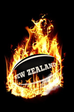 new zealand flag: New Zealand rugby ball against smoke Stock Photo