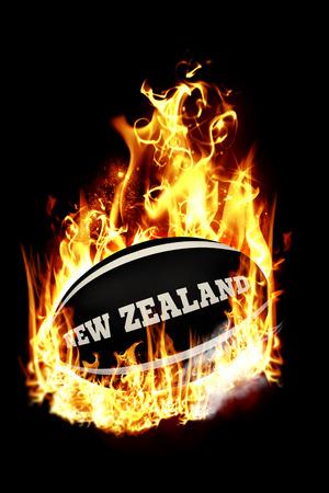 bandera de nueva zelanda: Nueva Zelanda pelota de rugby contra el humo