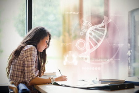 dna: Illustration of DNA against gorgeous student working
