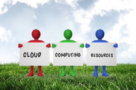 green computing: cloud computing resources against sky over green field