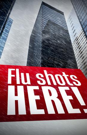 flu shots: flu shots here against skyscraper in city