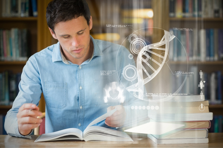 research study: Illustration of DNA against serious mature student studying at library desk