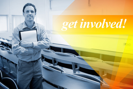 involved: The word get involved! against male teacher with notepad in the lecture hall Stock Photo
