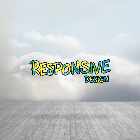 digitally generated image: Digitally generated image of responsive design text against clouds in a room