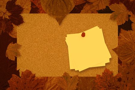 red pushpin: Sticky note with red pushpin against autumn leaves pattern Stock Photo