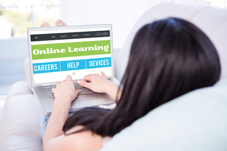 Online learning interface against woman using laptop