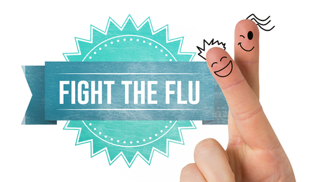 flu vaccines: Fingers smiling against flu shot message Stock Photo