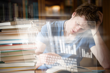 tired man: Illustration of human body with bar graph and keyboard against tired man reading a book