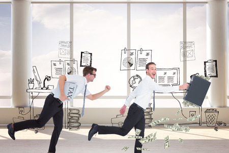 running businessman: Running businessman against doodle office with beside window Stock Photo
